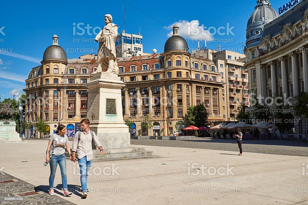 Couple in Bucharest Downtown stock photo