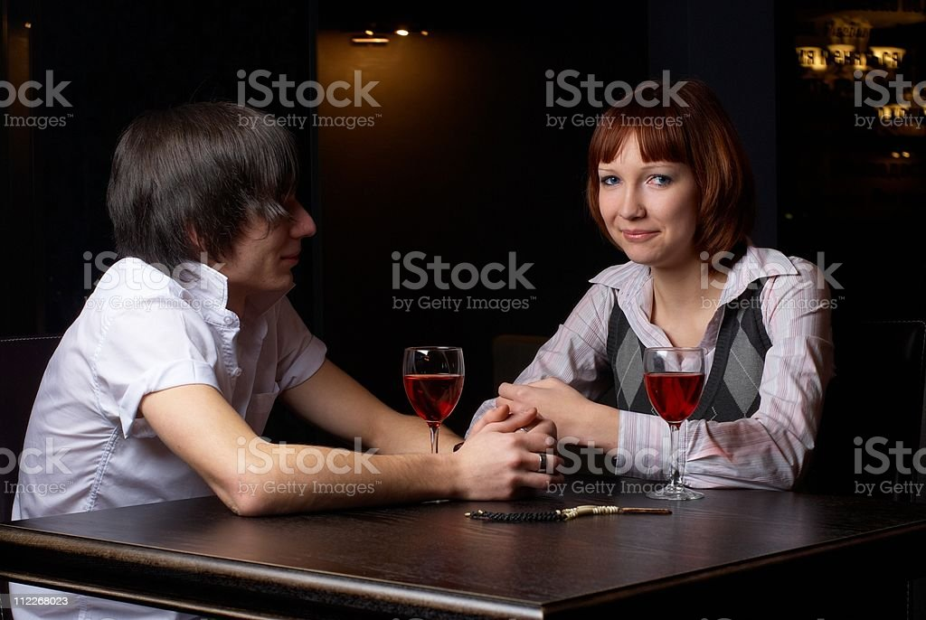 Couple in cafe royalty-free stock photo
