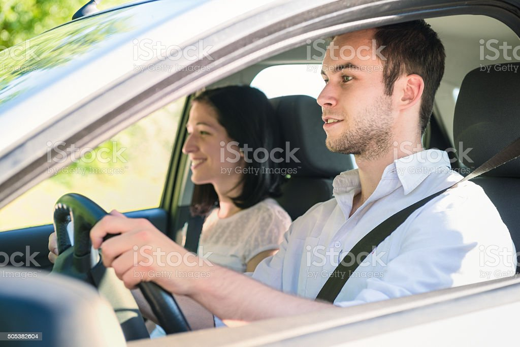 Couple in car stock photo