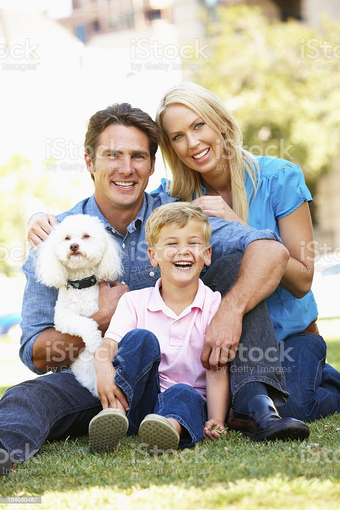 Couple in city park with young son and dog royalty-free stock photo
