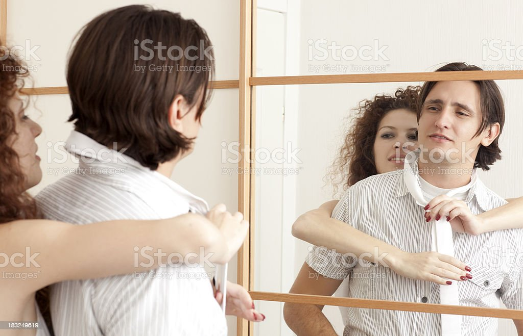 Couple in clothing store. stock photo