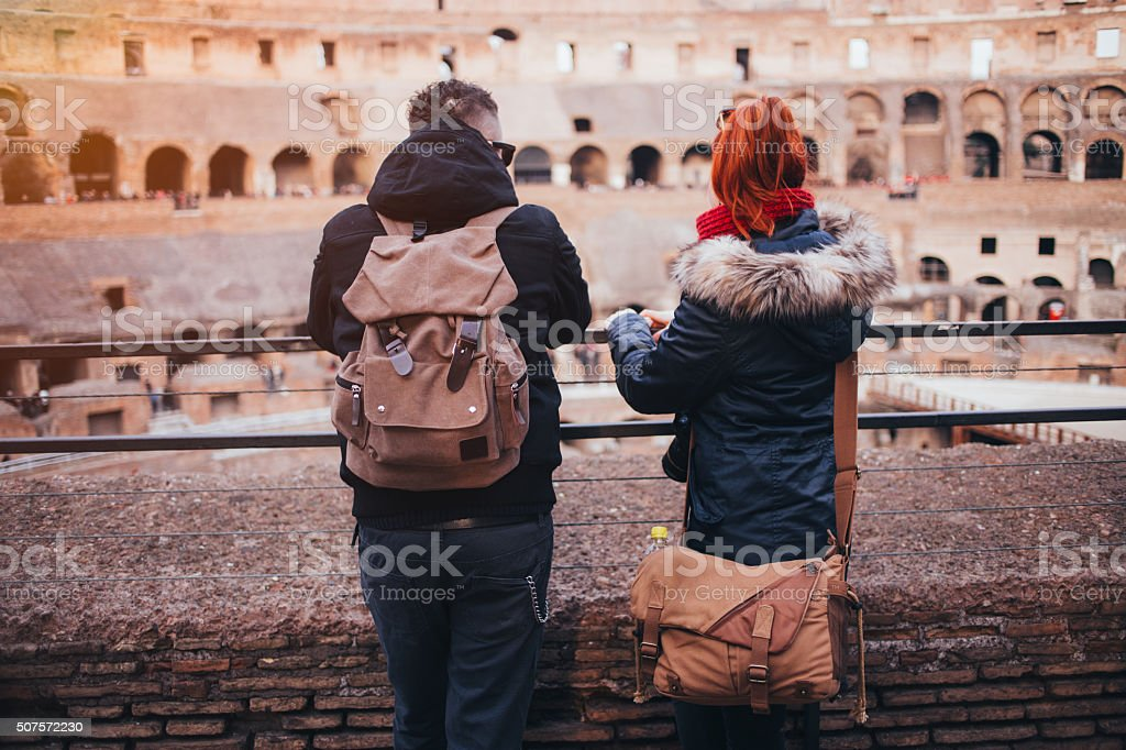 Couple in Colosseum stock photo
