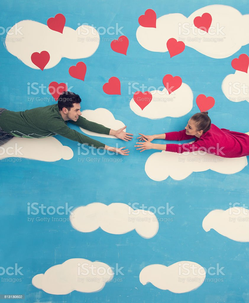 Couple in comic book: Reaching for love stock photo