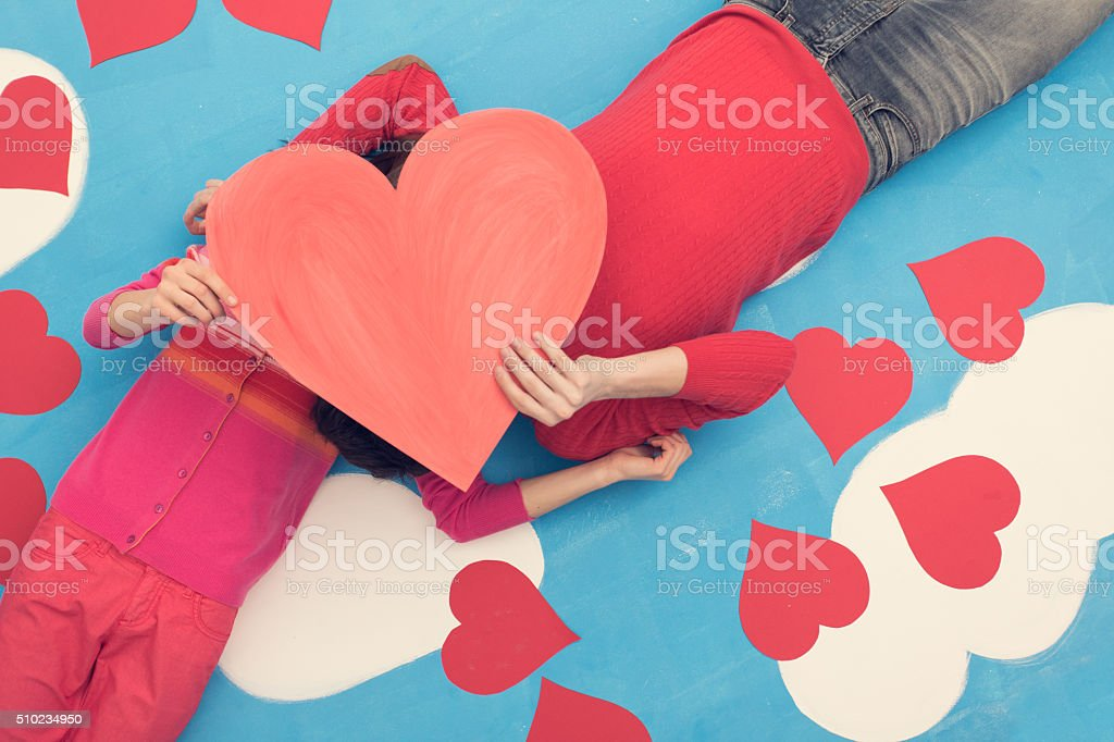 Couple in comic book: Sharing love stock photo