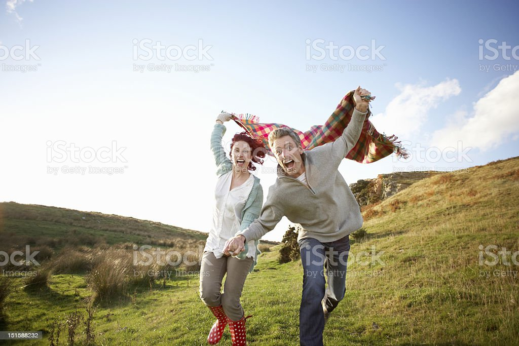 Couple in countryside stock photo