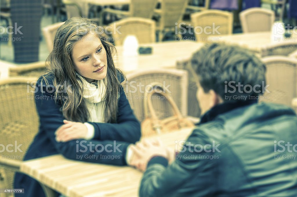 Couple in deep moments of a Confession stock photo