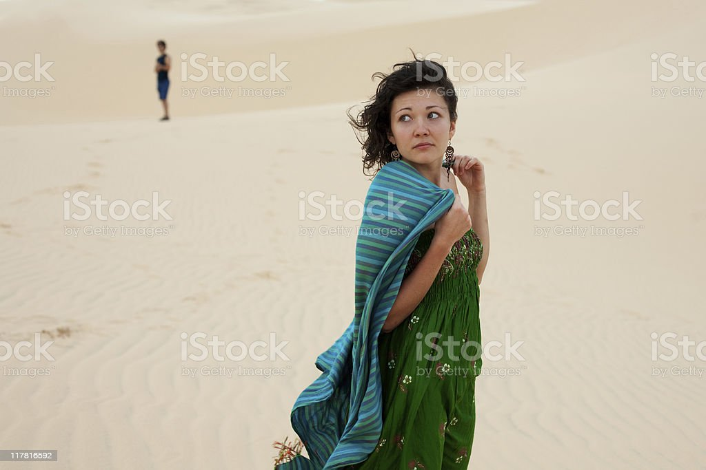 Couple in desert royalty-free stock photo