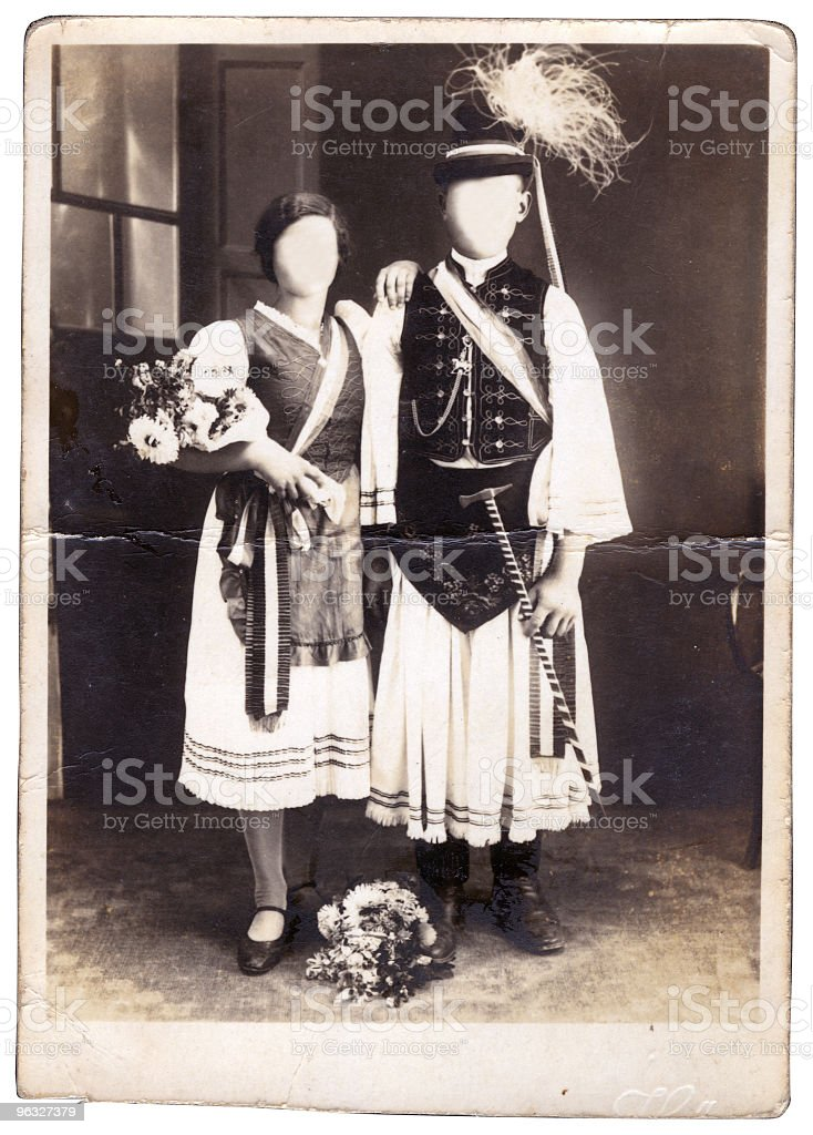 Couple in folk clothes stock photo