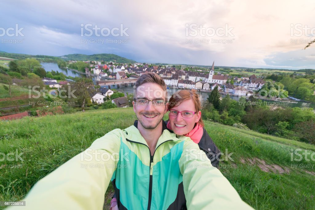Couple in front of Diessenhofen CH stock photo