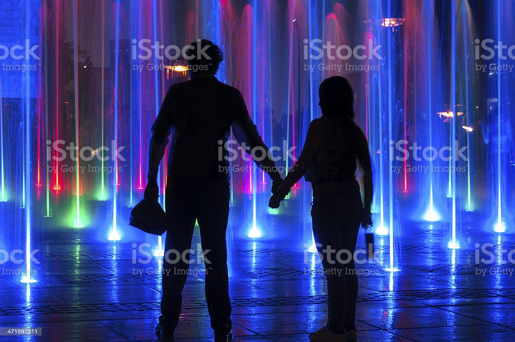 Couple In Front Of Lights Show at Mexican Revolution Monument royalty-free stock photo