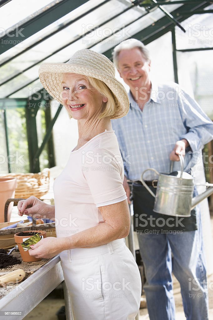 Couple in greenhouse planting seeds royalty-free stock photo