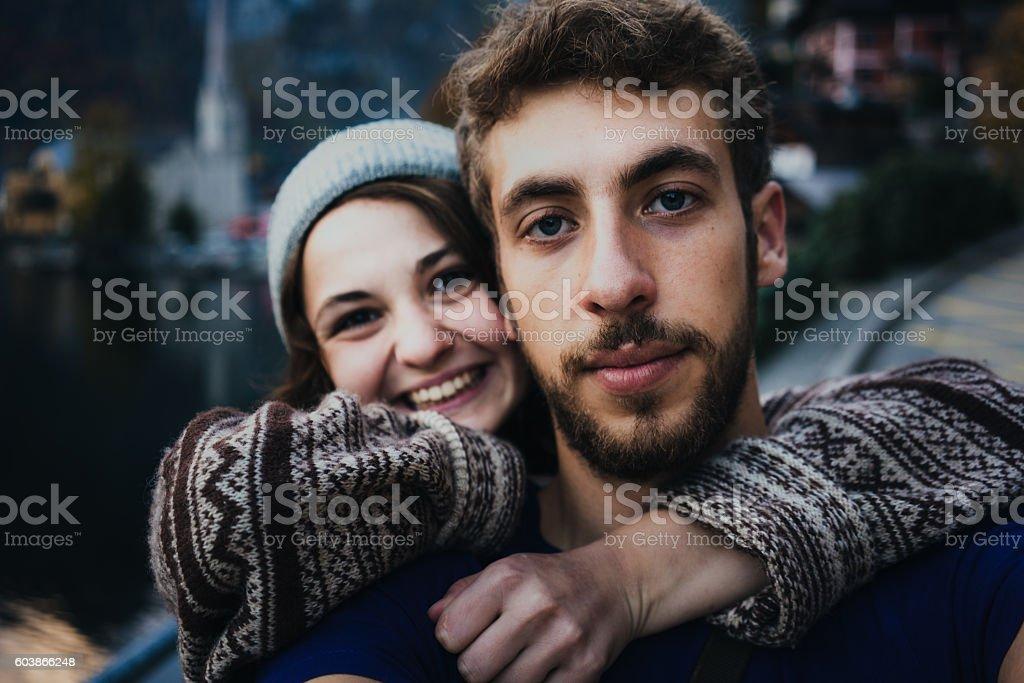 Couple   in Hallstatt stock photo