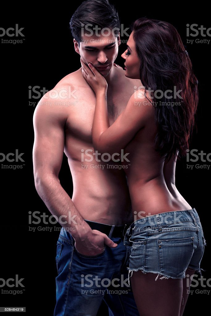 Couple in jeans stock photo
