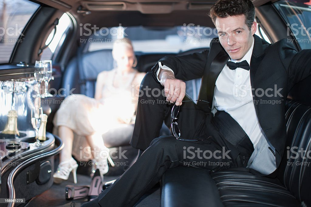 Couple in limo royalty-free stock photo
