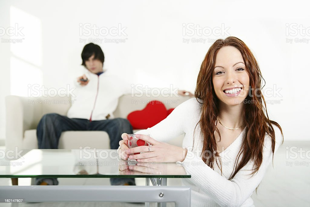 Couple in living room royalty-free stock photo