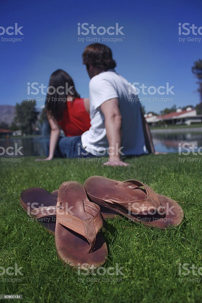 couple by lake stock photo