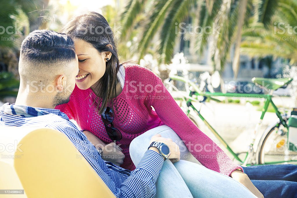 Couple in love enjoying their relationship outdoors royalty-free stock photo
