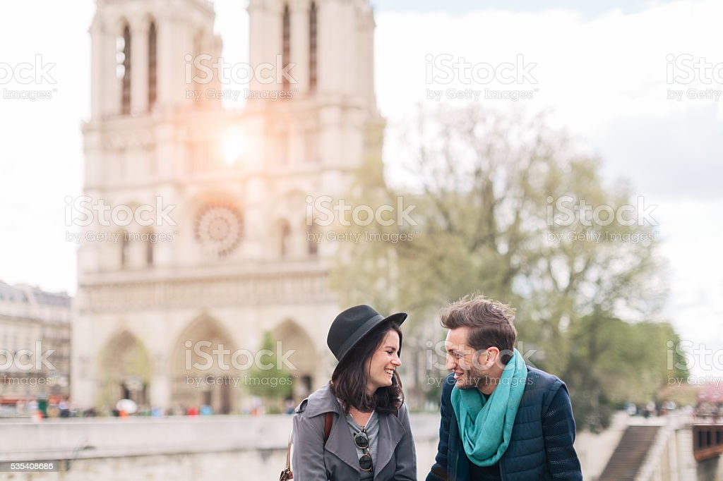 Couple in love enjoying time in Paris. stock photo