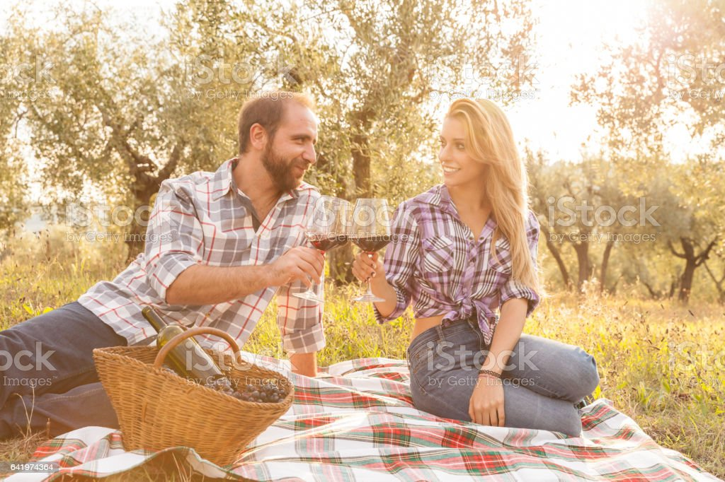Couple in love having a picnic in the country stock photo