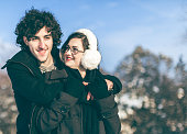 Couple in love in a snowy park