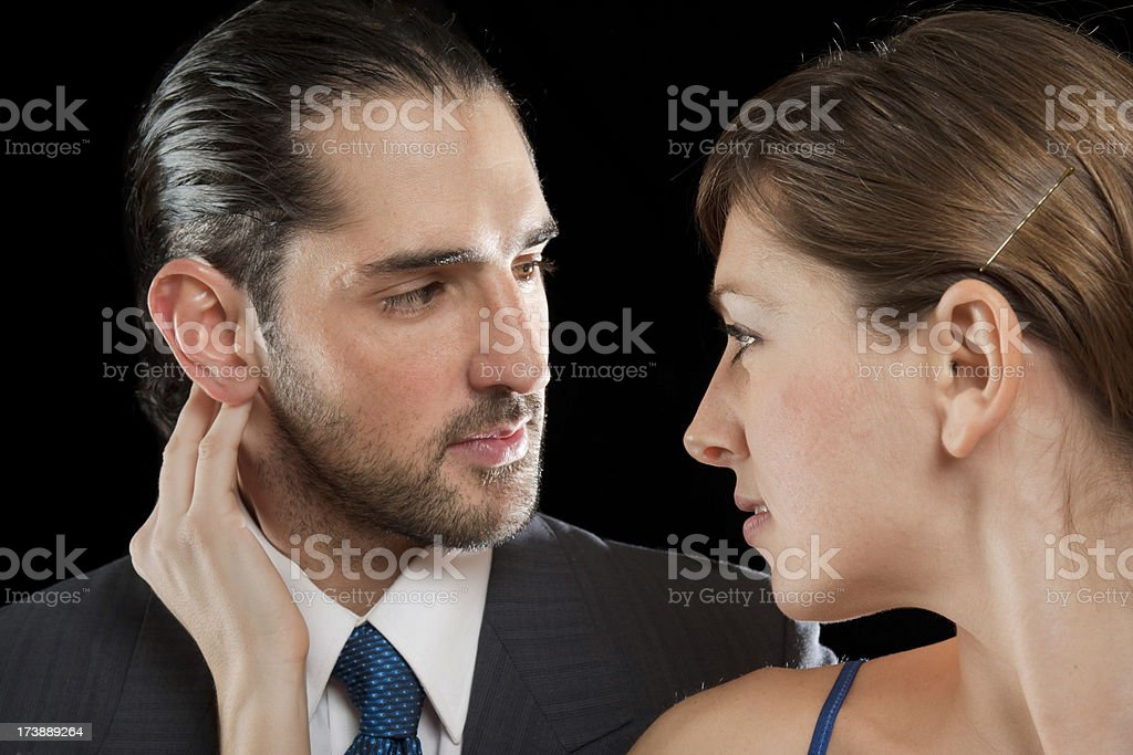 Couple in love looking at each other stock photo