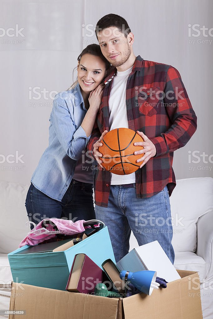Couple in love moving house stock photo