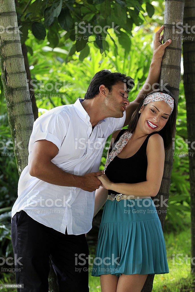 Couple in love on a park royalty-free stock photo