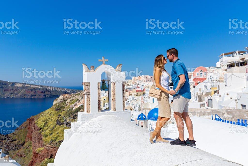 Couple in love on Santorini stock photo