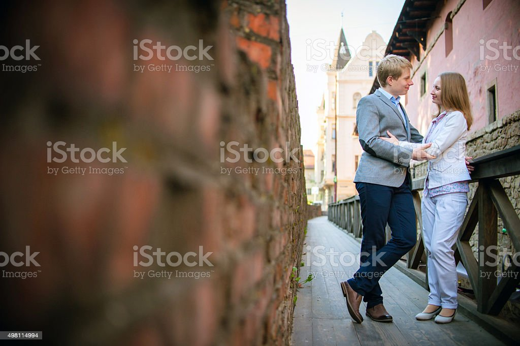 couple in love on street stock photo