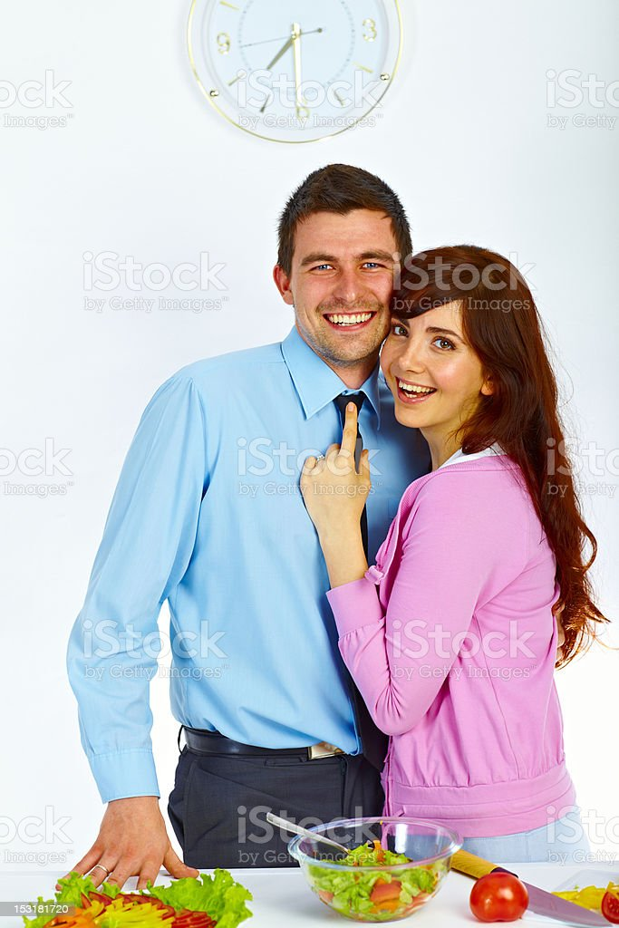 Couple in love on the kitchen royalty-free stock photo