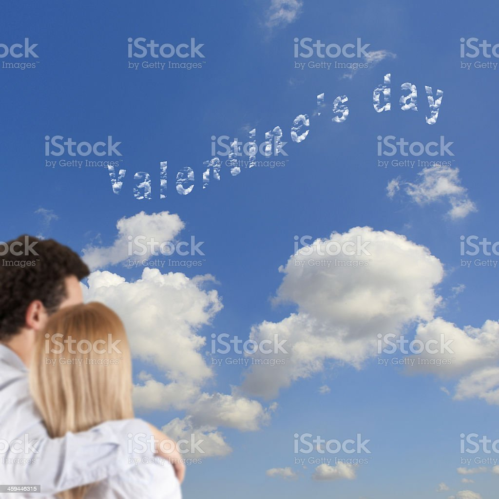 Couple in Love on Valentine's Day.Copy Space. royalty-free stock photo