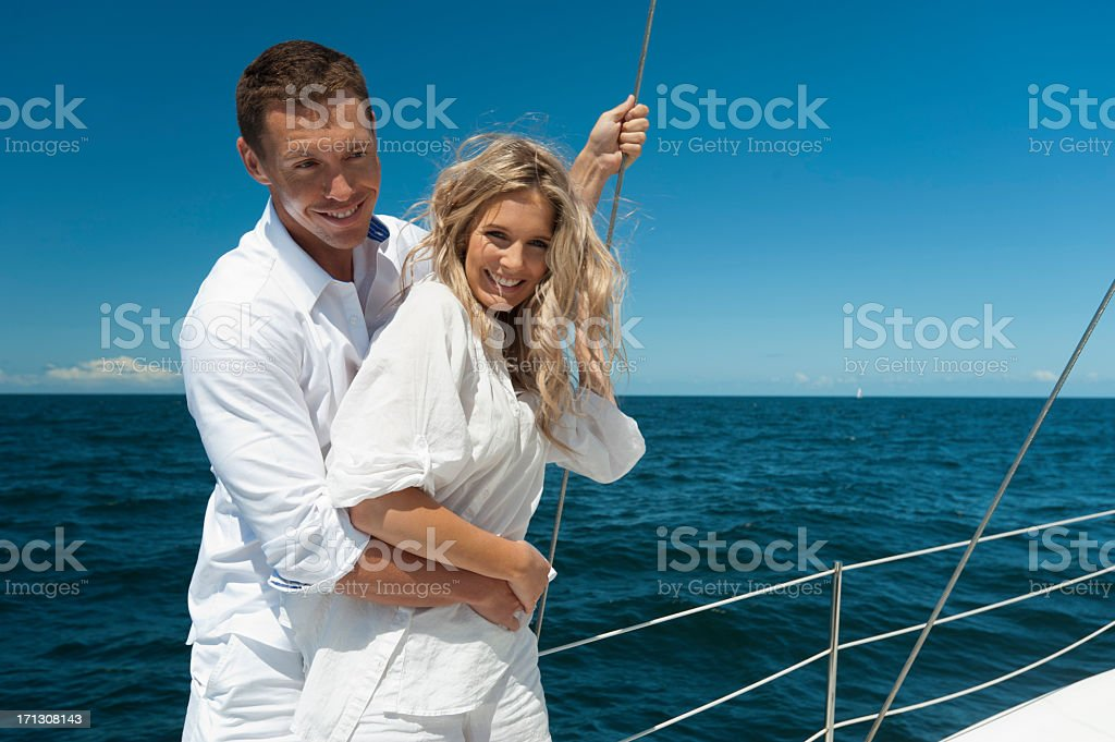 Couple in love sailing royalty-free stock photo