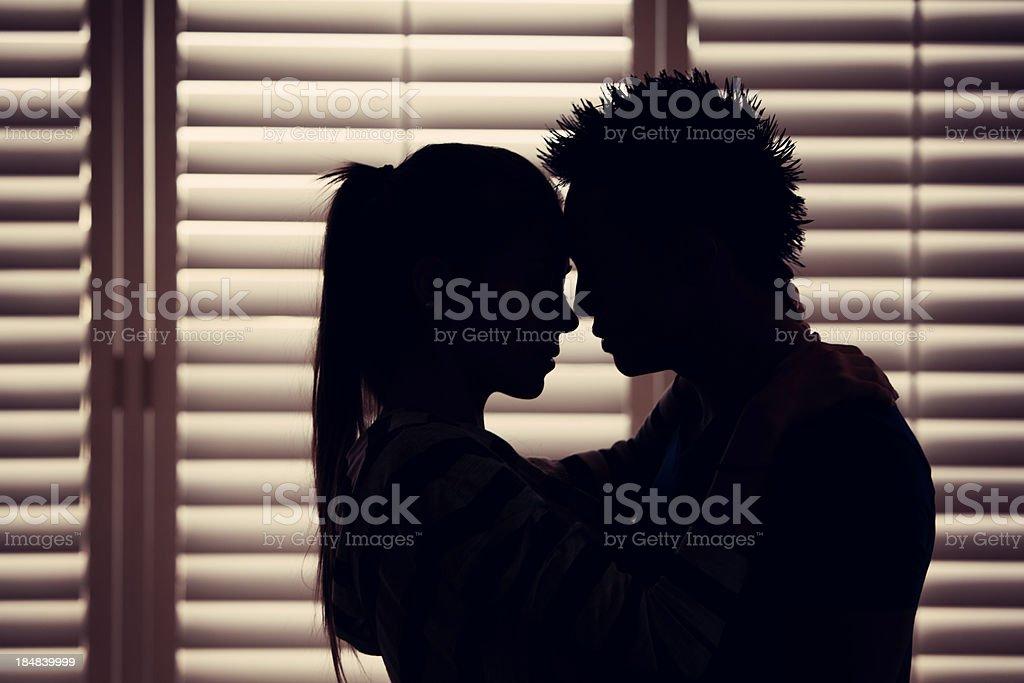 Couple In Love Silhouette stock photo