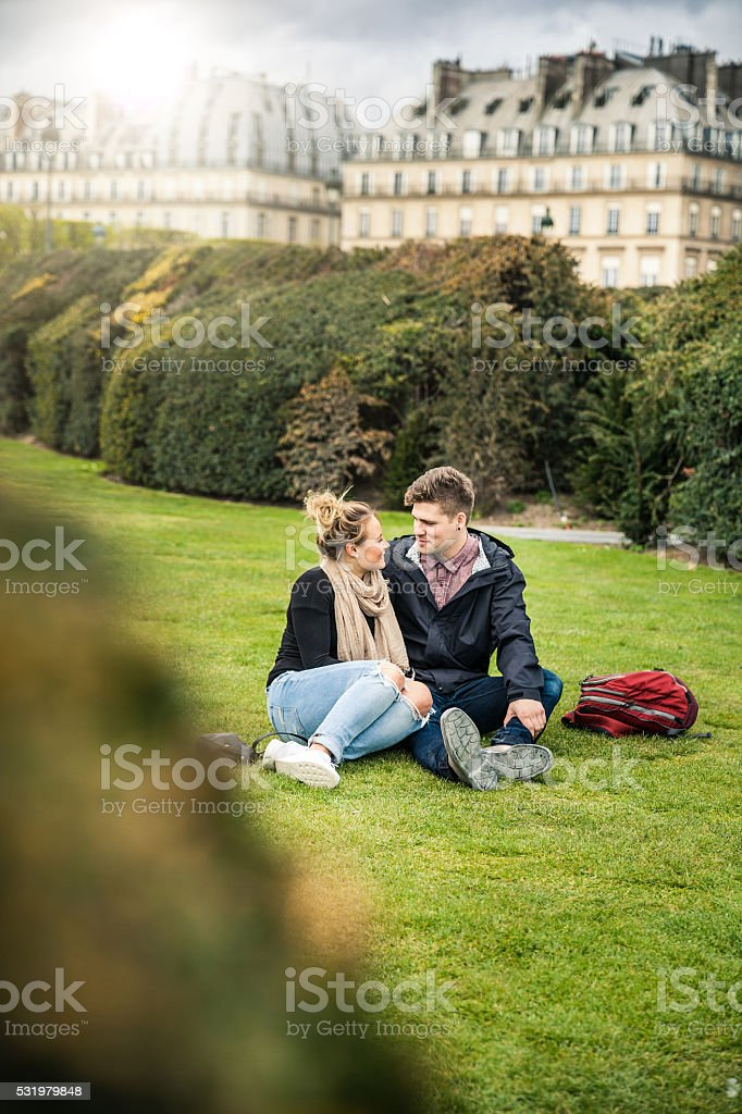 Couple in love - tourist on travel in Paris stock photo