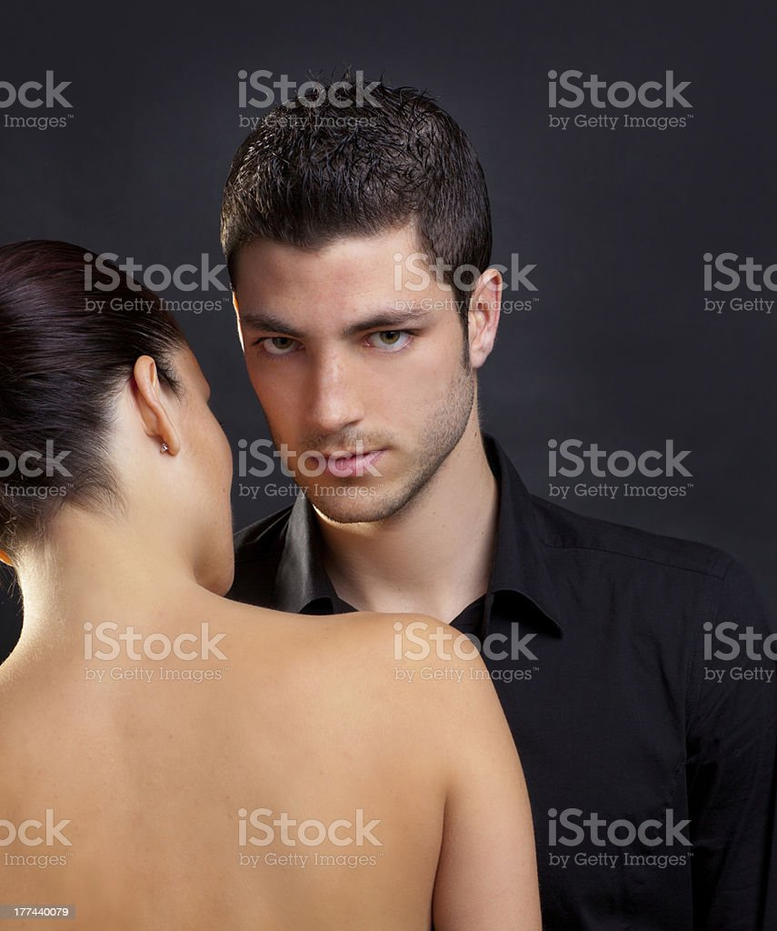 Couple in love with handsome man and rear woman royalty-free stock photo
