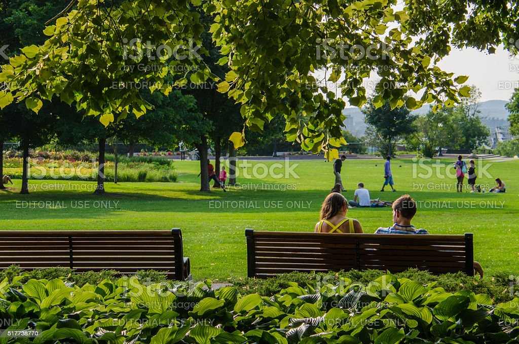 Couple in Major's Hill Park in Ottawa, Canada stock photo