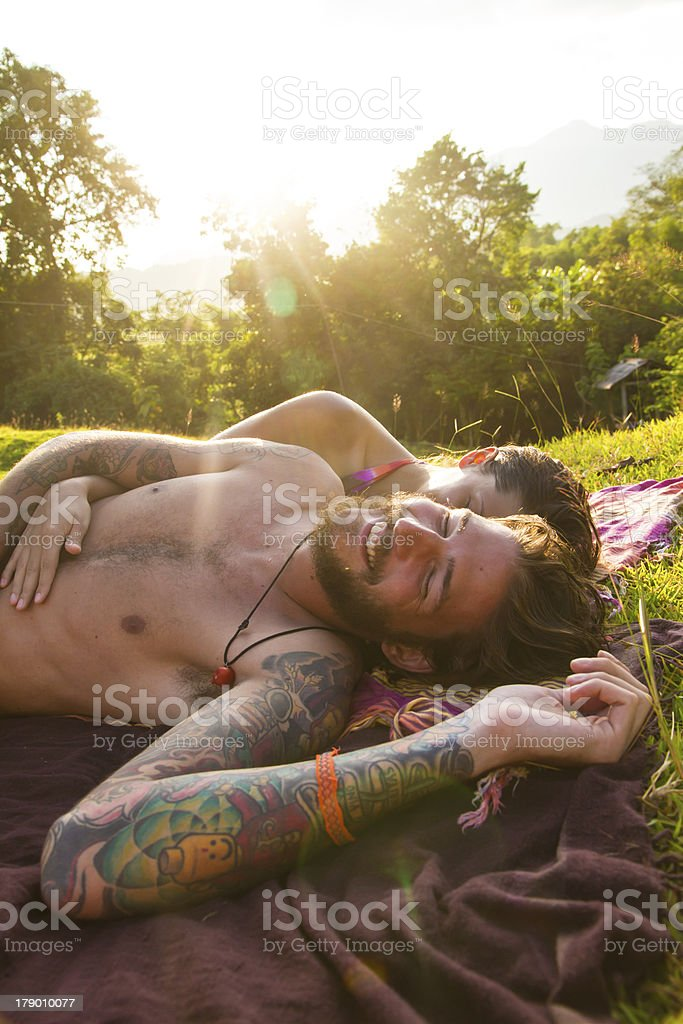 couple in meadow royalty-free stock photo