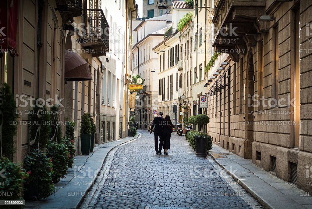 Couple in Milan stock photo