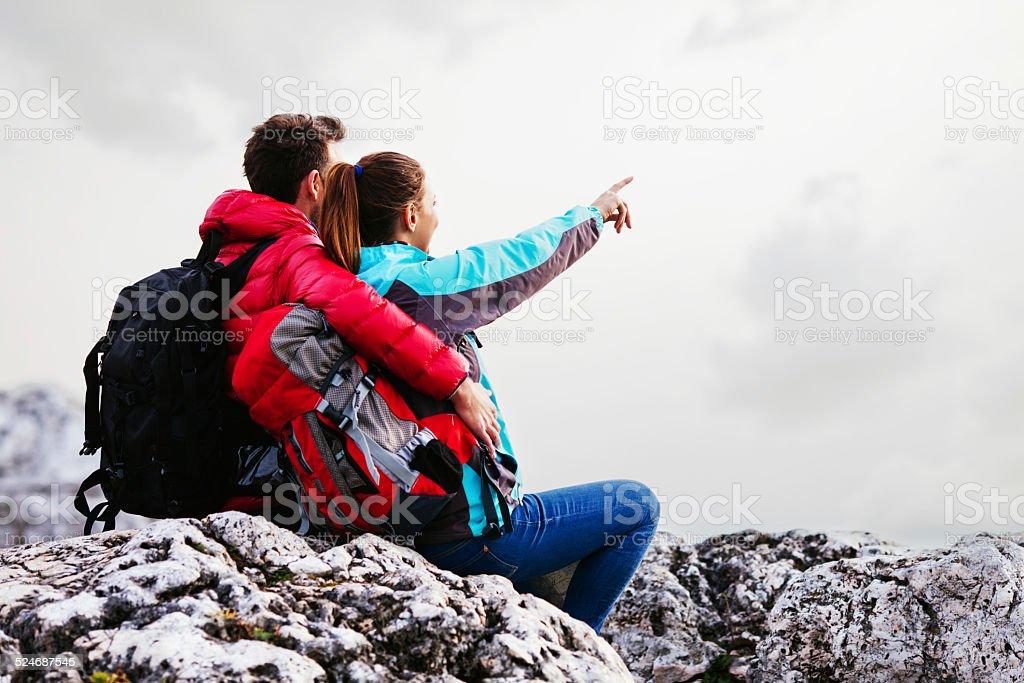 Couple in mountains stock photo