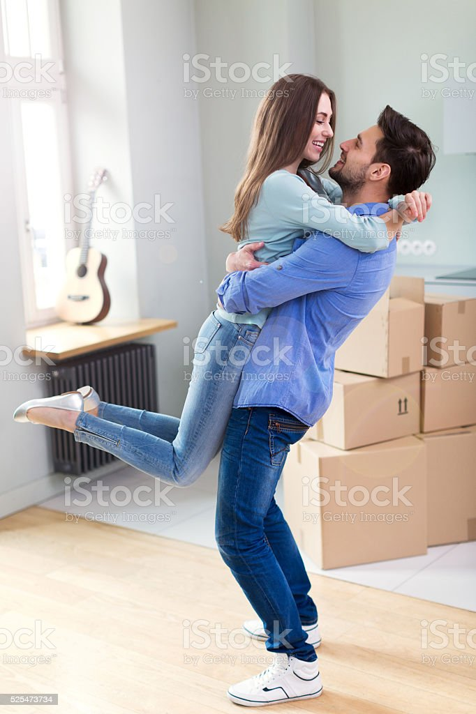 Couple in new flat stock photo