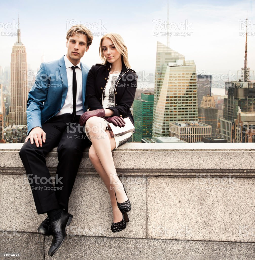 Couple in New York rooftop stock photo