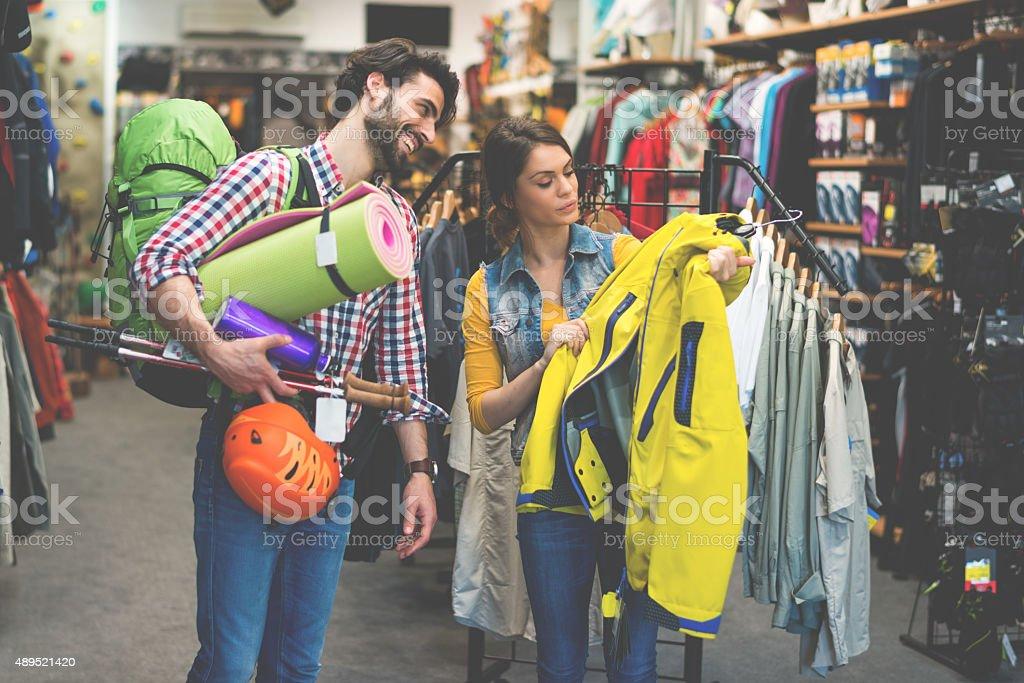 Couple in outdoor equipment mega store stock photo