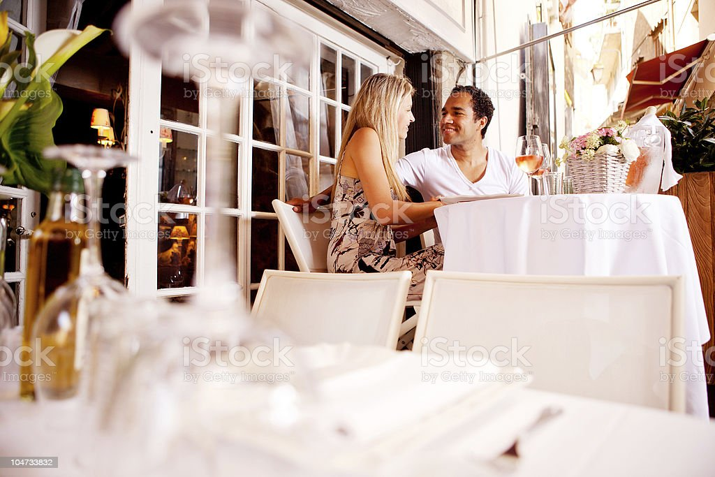 Couple in Outdoor Restaurant royalty-free stock photo