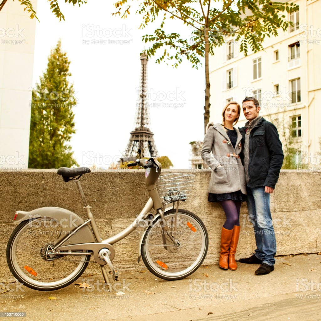 Couple in Paris stock photo