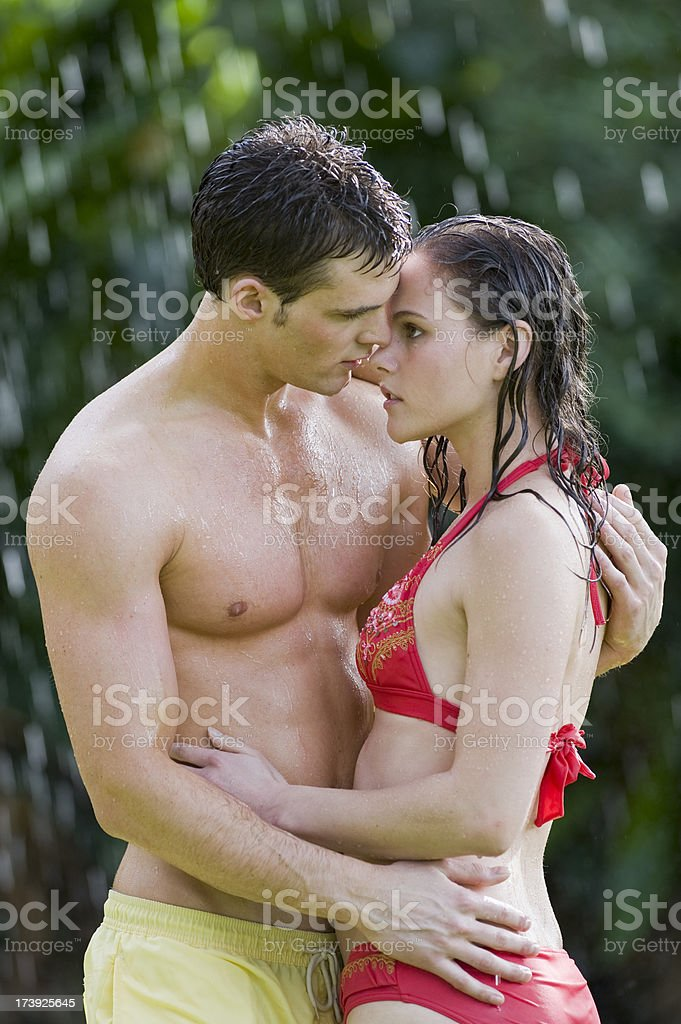 Couple in Rain royalty-free stock photo