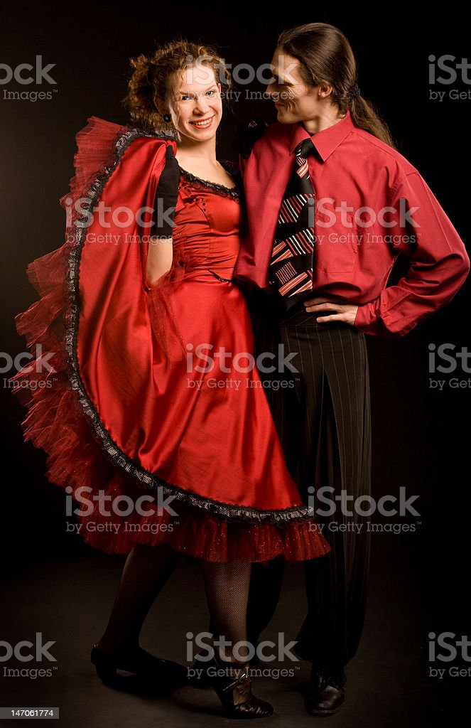 Couple in red royalty-free stock photo