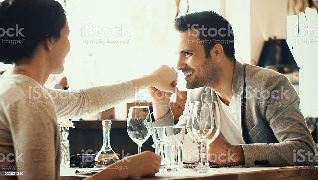 Couple in restaurant. stock photo