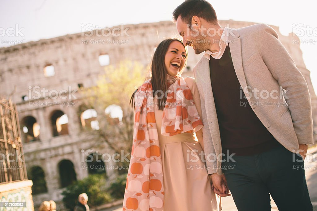 Couple in Rome stock photo