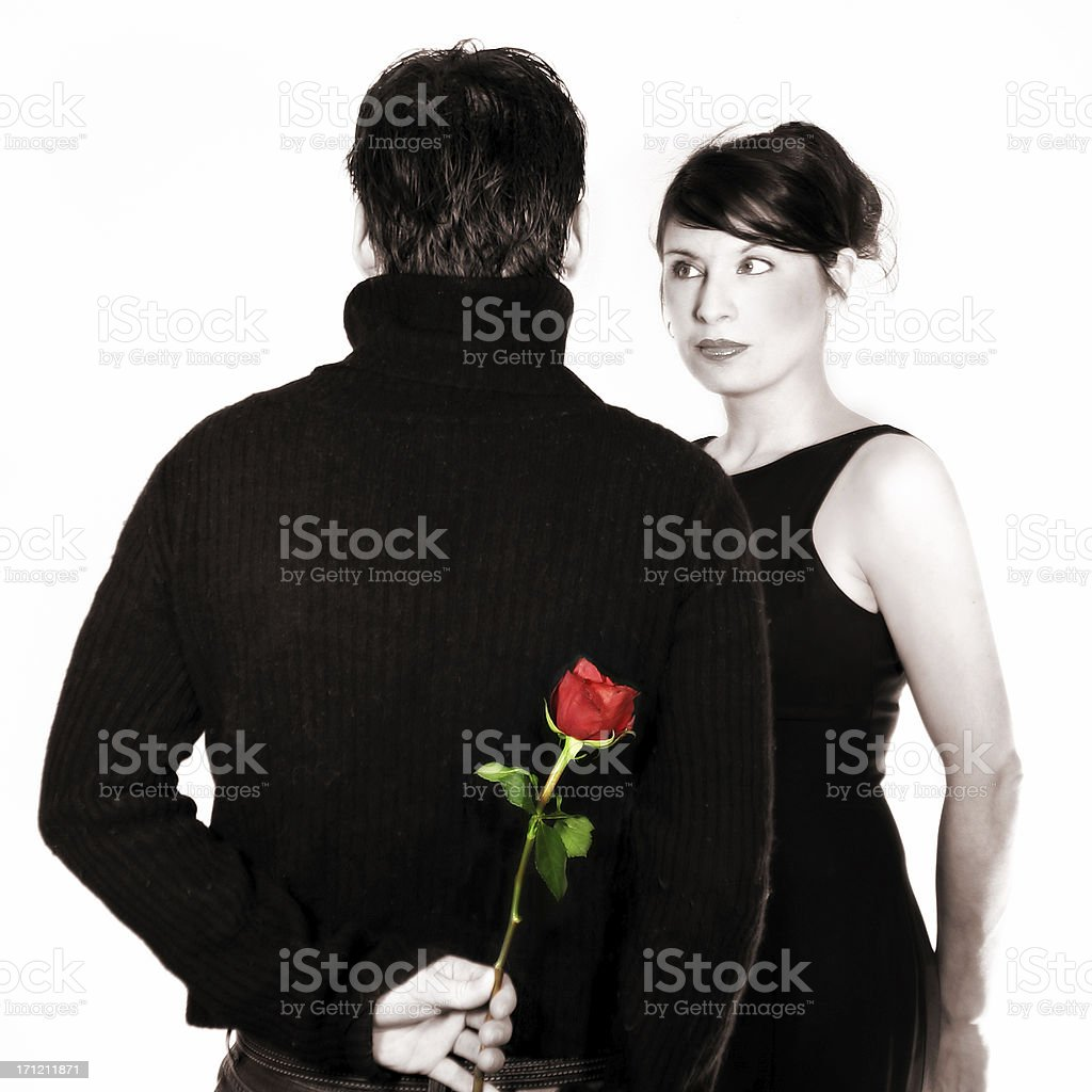 Couple in sepia with a rose royalty-free stock photo