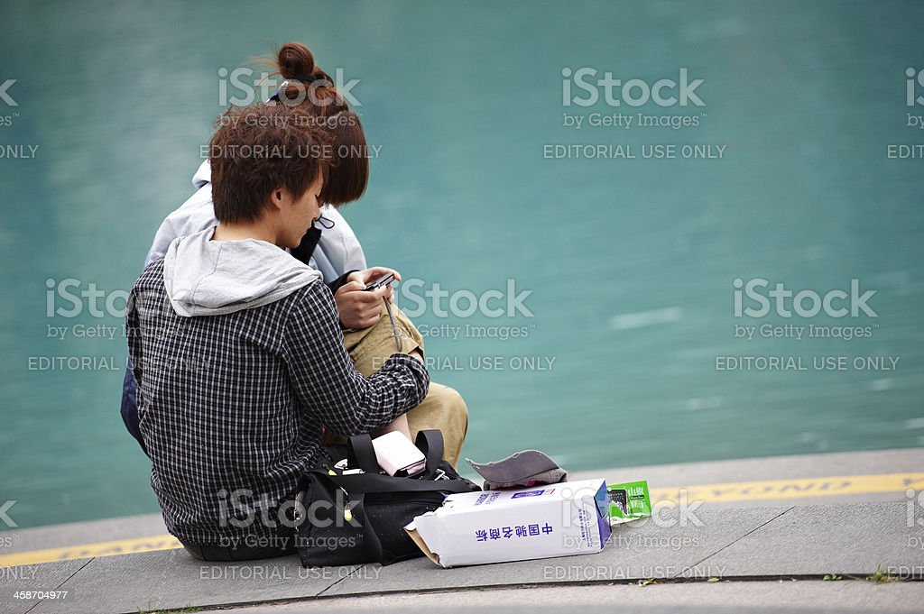 Couple in Shanghai stock photo